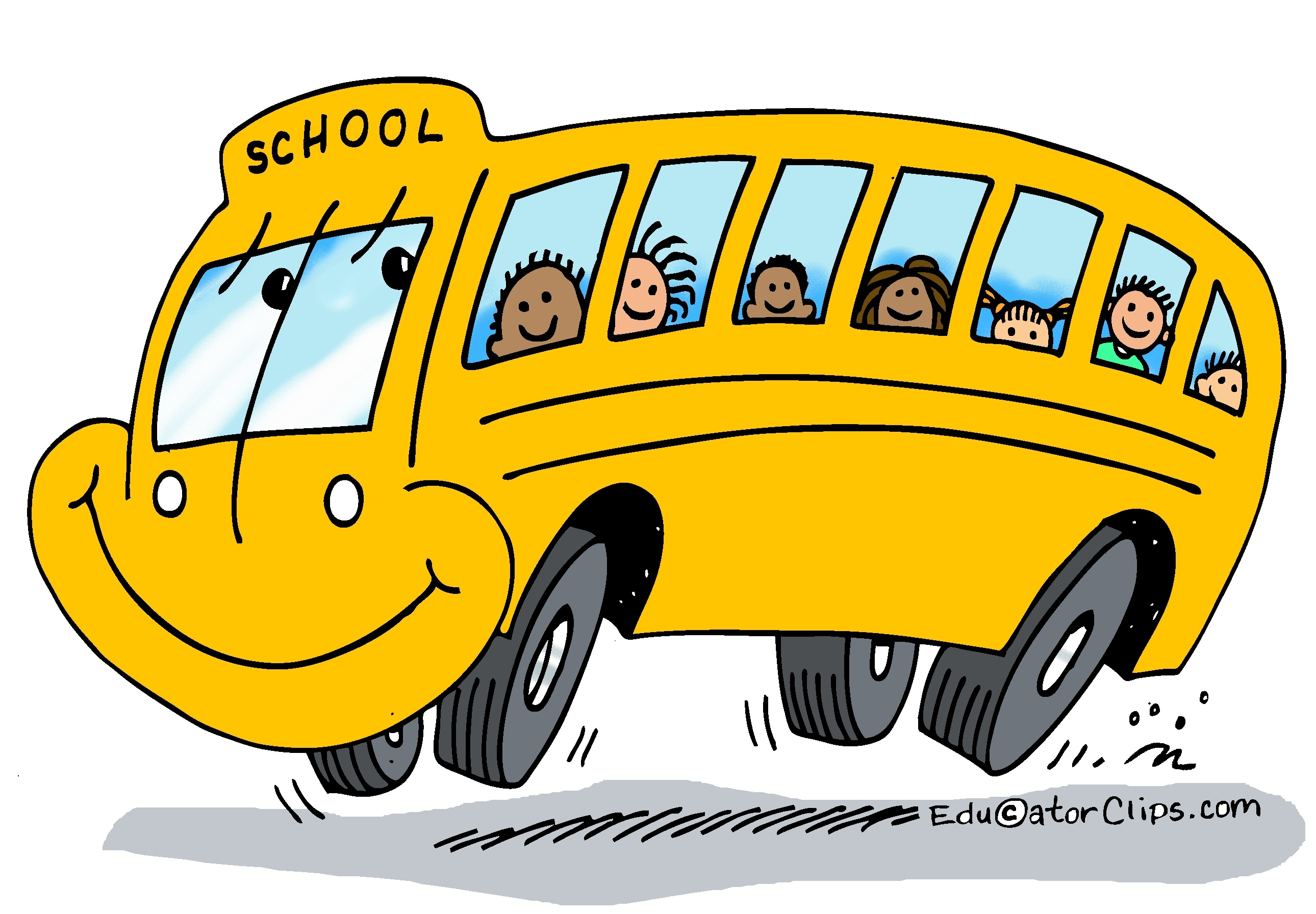 School bus color. Happy clip art