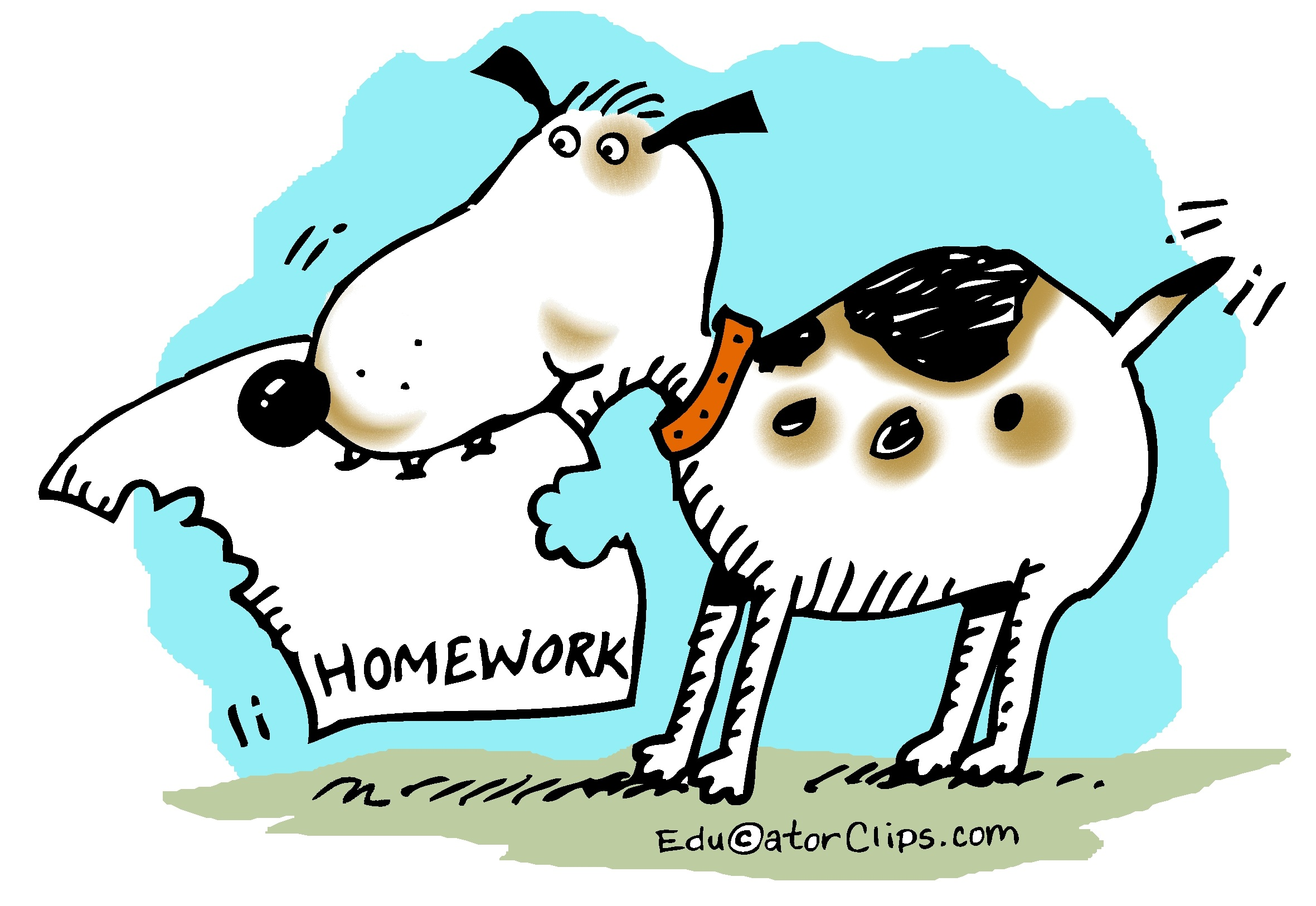 Cartoon images of the dog ate my homework